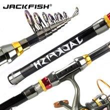 Jackfish 99% vara de pesca telescópica de fibra de carbono 1.8-3.6m varas de mar curto vara de pesca telescópica pólo de pesca de fiação