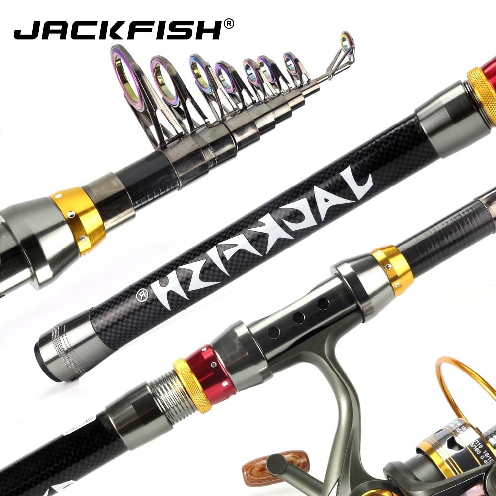 JACKFISH 99% de fibra de carbono caña de pescar telescópica 1,8-3,6 m corto mar varillas pesca Rod telescópico girando caña de pescar