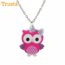 "Trusta 2018 Fashion Girls Kids Daughter Xmas Birthday Gift Jewelry Cute Owl Pendant 16"" Short Chain Necklace Drop Shipping KS38"