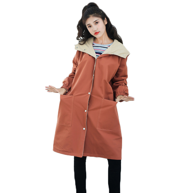 Womens long trench coat 2018 spring new wearing windbreaker on both sides female fashion loose big size women trench coats