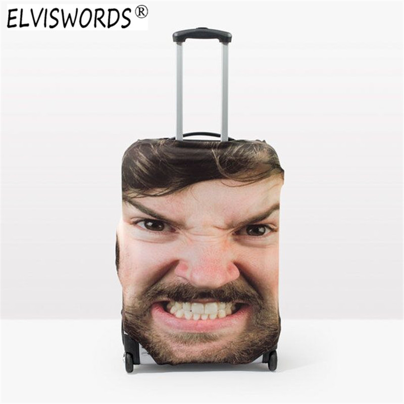 ELVISWORDS Custom 3D Face Print Thick Elastic Luggage Protective Covers Christmas Decoration Travel Baggage Cover Baby