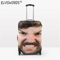 ELVISWORDS Custom 3D Face Print Thick Elastic Luggage Protective Covers Peacock Feather Travel Baggage Cover Suitcase