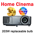 7000 lumens Projector Full 3D format with 2D to 3D 1024*768 Native DLP Chip 203W lamp HDMI Support 1920*1080P Optional system