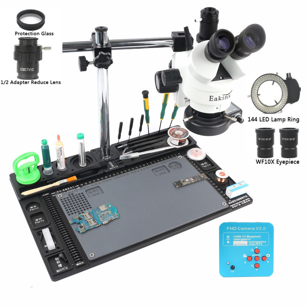21MP 2 k HDMI Microscope Caméra 1/2 lentille adaptateur Simul-focal Trinoculaire Stéréo Microscope 3.5-90X Seul Bras rotation Support
