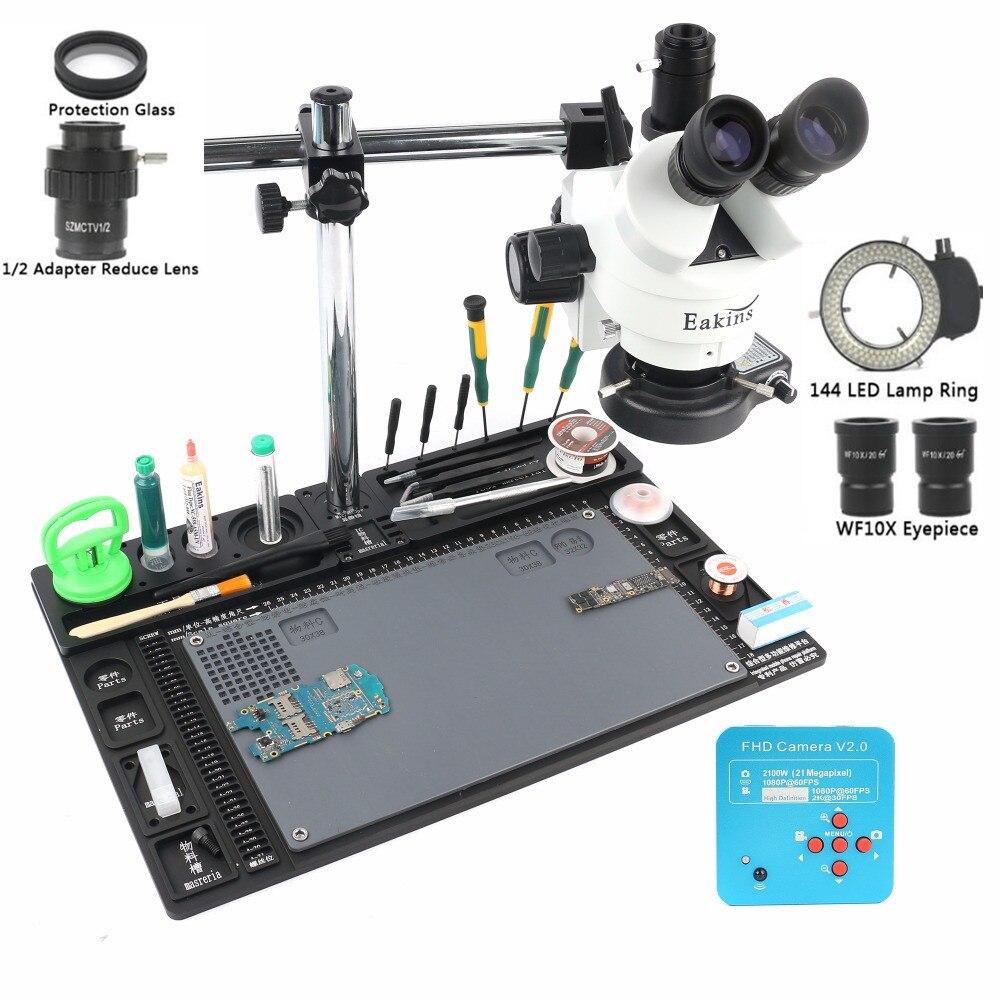 Caméra de Microscope HDMI 21MP 2 K 3.5-90X simul-focal Microscope stéréo trinoculaire 1/2 adaptateur lentille bras unique support rotatif