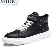 MIUBU Men Casual Shoes Autumn Winter Front Lace-Up Ankle Boots Shoes 2018 New Arrival Men High Top Genuine Leather Shoes Men цена
