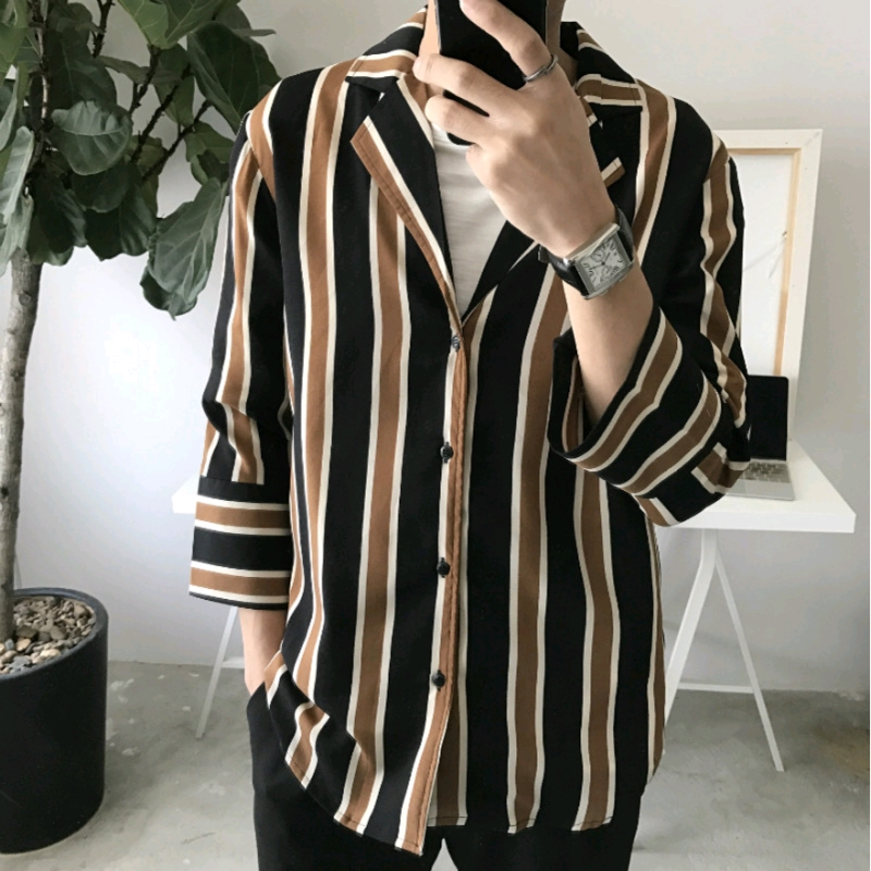 Men Women Spring Autumn Fashion Korea Style Vintage Stripe Ulzzang Harajuku Shirts Male Casual Loose Hip Hop Streetwear Shirts