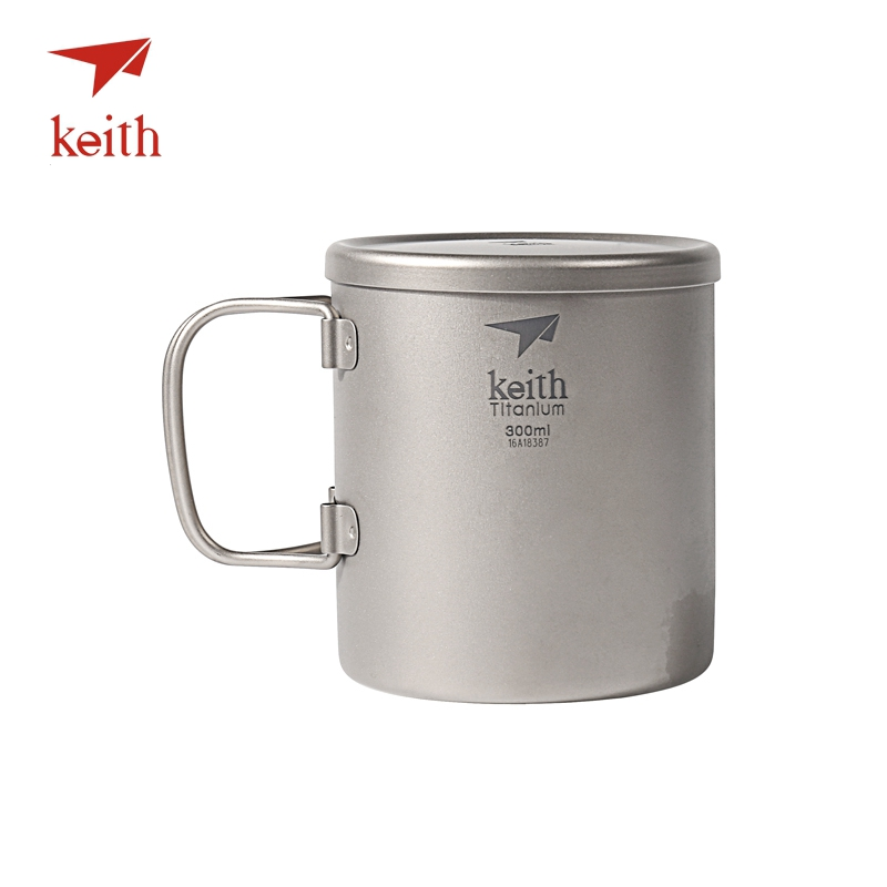 Keith Double Wall Titanium Insulated Mug With Titanium Lid Water Mugs Folding Handle Outdoor Camping Travel Tableware Utensils keith double wall titanium beer mugs insulation drinkware outdoor camping coffee cups ultralight travel mug 320ml 98g ti9221