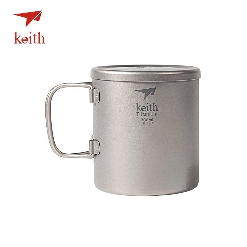 Keith Double paroi tasse en titane isolé avec couvercle en titane tasses à eau poignée pliante en plein air Camping voyage vaisselle ustensiles