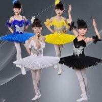 Ballet Dance Skirt Kids Ballet Tutu Costume Girl Swan Dance Wear Professional Chromatic Ballet Bitter Fleabane