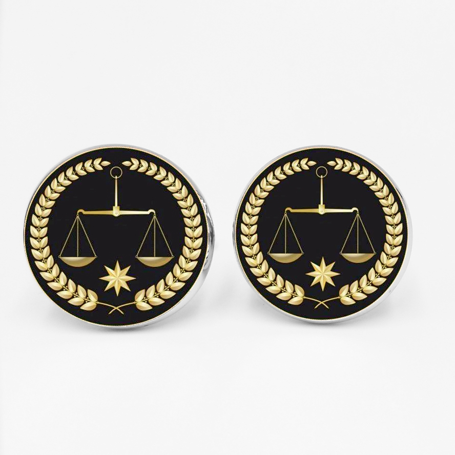 Handmade Judges Gold Balance Justice Messenger Men's Cufflinks Shirt Cuffs High Quality Silver Glass Cufflinks Husband Gifts