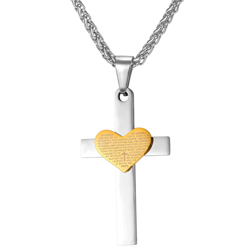 Kpop Stainless Steel Cross Necklace Two tone Pendant Gold Color Necklace Love For God For New christian Jewelry P265