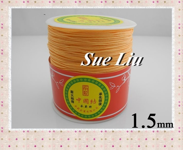 1.5mm Lt Coral Pink Chinese Knot Beading 100% Nylon Shamballa Cord (145M/158yds Spool), NCNB-180