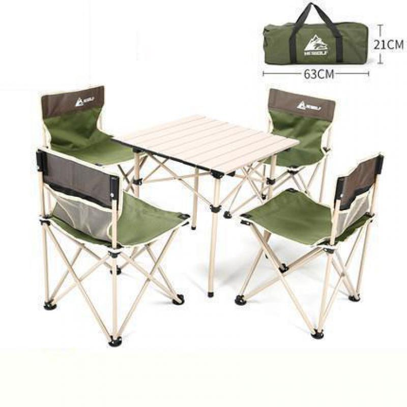 Outdoor Folding Table And Chair Set Outdoor Picnic Table And Chair Barbecue Camping Chair Self-driving Portable Table