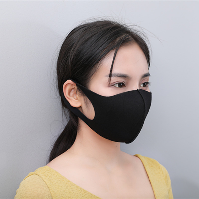 Flu Wind Anti Proof Sponge Pollution Fabric Black Respirator Mask Shield Breathable Reusable Cover Mouth Face
