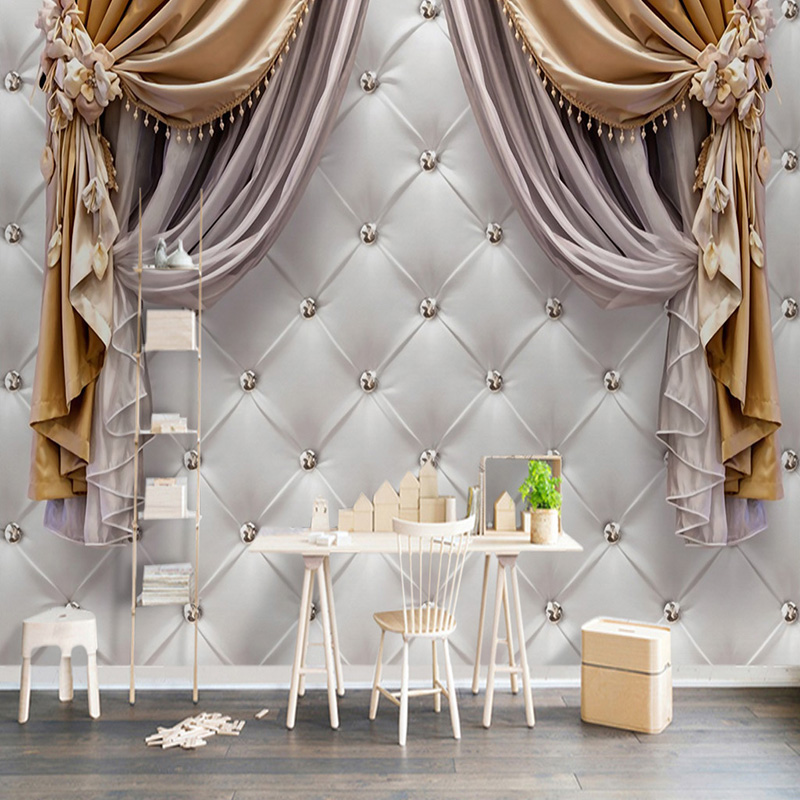 European Style Curtain Soft Roll Photo Mural Wallpaper Living Room TV Sofa Bedroom Background Wall Decor Papel De Parede 3D Sala custom 3d wallpaper mural chinese style flower and bird wallpaper restaurant living room bedroom sofa tv wall papel de parede