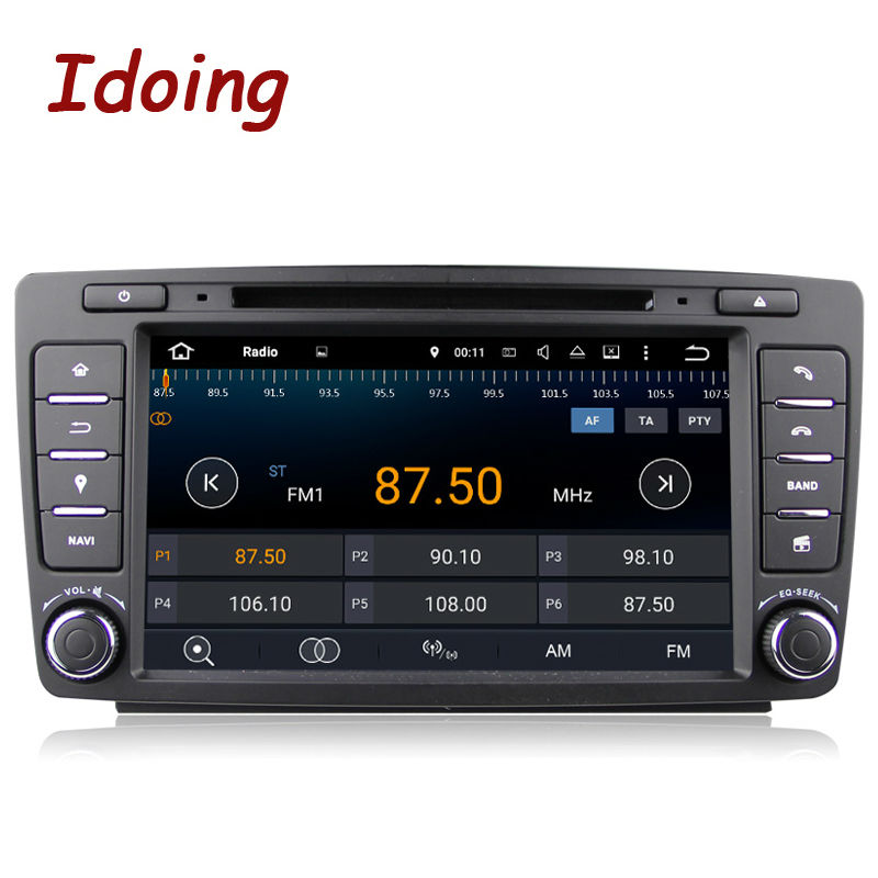 Idoing 2Din For Skoda Octavia 2 Steering Wheel font b Android b font Car DVD Multimedia