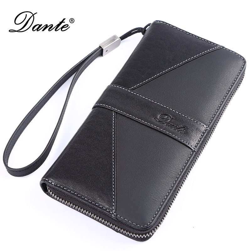 DANTE fashion luxury brand men wallets genuine leather long zipper clutch purse male phone wallet 2017 luxury brand men genuine leather wallet top leather men wallets clutch plaid leather purse carteira masculina phone bag
