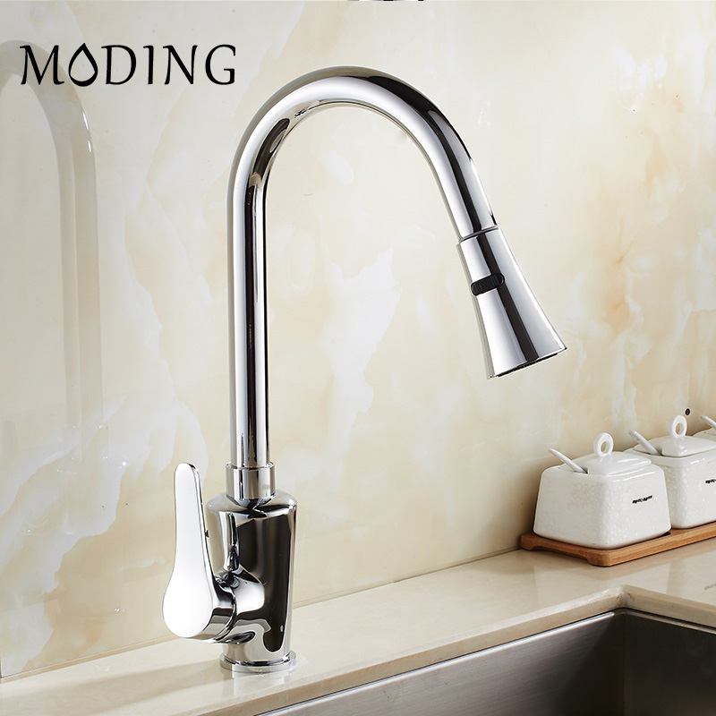 MODING Silver Single Handle Kitchen Faucet Mixer Pull Out Kitchen Tap Single Hole 360 Rotate Copper Swivel Sink Mixer #MD1B8058D new pull out sprayer kitchen faucet swivel spout vessel sink mixer tap single handle hole hot and cold