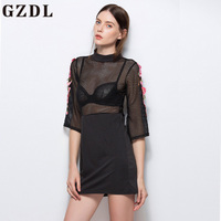 GZDL Casual Women Patch Work Straight Dress Style 3/4 Sleeve Black Transparent Turtleneck Sexy Bodycon Femme Mini Dresses CL3831