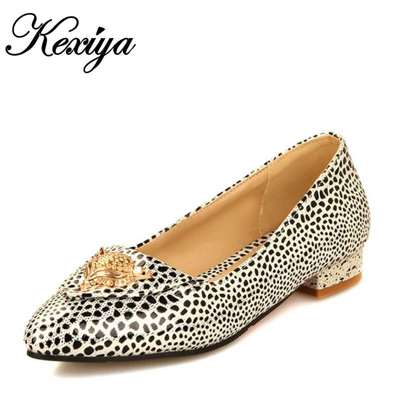 Большой размер 30-50 новая мода сладкие женские туфли досуг леопарда зерна одиночные туфли металлические украшения туфли на каблуках HQW-230