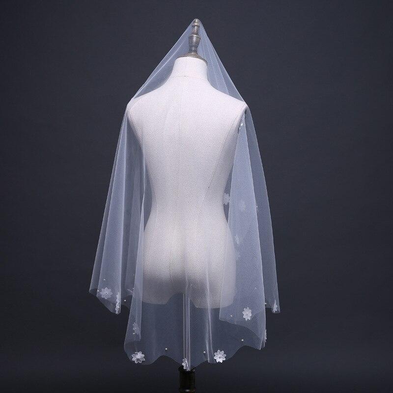 JaneVini Ivory Bridal Veil Pearl Cut Edge Soft Tulle Handmade Flowers Applique Short Wedding Veil for Bride No Comb Accessories