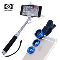 Uitschuifbare Monopod draad kabel Selfie Stok take's Apexel 3in1 Clip Fish Eye Lens Groothoek Macro Mobiele Telefoon Lens 96CX3