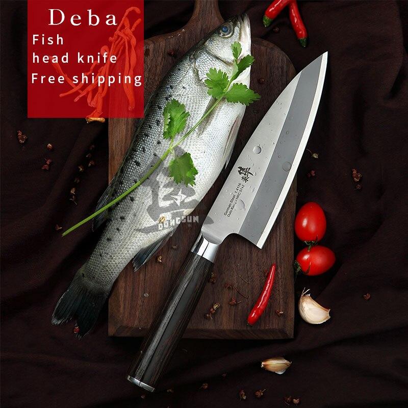 Cuchillo japonés de cabeza de pescado Deba cuchillo de salmón Sashimi Sushi cuchillo de cocina Alemania importa 1,4116 acero