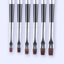 6Pcs/set Flat Head Brushes with Detachable Cap UV Gel Nail Art Brush Kit Painting Drawing Pen Manicure Tool