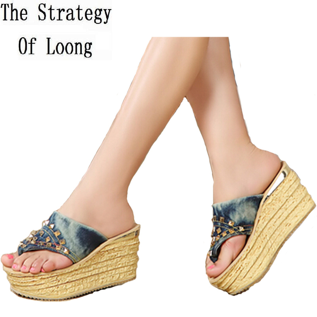 Womens Wedges Sandals - Fashion Summer Sandals Chunky Heel Flip-Flops Slippers Heeled Shoes