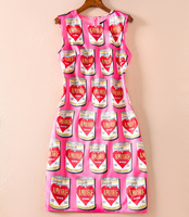 Novelty Designer Women Print Dress Fashion O Neck Sleeveless Sheath Dresses H8205