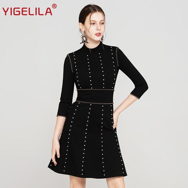 82a5f812b Comprar YIGELILA moda mujeres vestido negro otoño cuello de tres cuartos de  manga imperio Slim longitud de la rodilla del vestido del remache 64189  Online ...