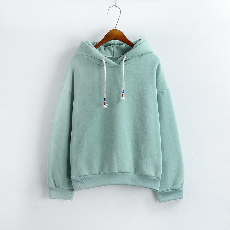 YNA QING HUAN 2018 Spring Women's Hoodie Sweatshirt New Hot Candy-colored Long-sleeved Casual Solid Color Loose Hoodie Top