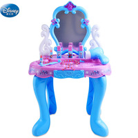 Disney girls frozen elsa and anna Dressing table Makeup set with music light snow Beauty pretend play toys kids birthday gift