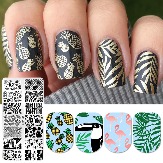 BORN PRETTY Nail Stamping Templates Pineapple Flamingo Patterns Rectangle Nail Stamp Plates Summer Fruit Manicure Art Stencil