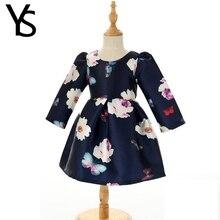 4-7T  Little Baby Girls Dress Bebe Toddler Kids Children Long Sleeve Floral Print Elegant Girls Clothes For Spring Autumn