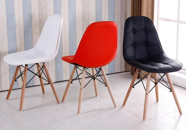 Modern Simple European Style Wooden Leather Fashion Coffee Chair Moderne Stoel Dining Room Chairs Colored Wood Restaurant