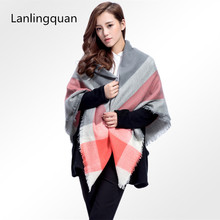 desigual za brand cashmere poncho Winter 2016 font b Tartan b font squqre Plaid Scarf Designer