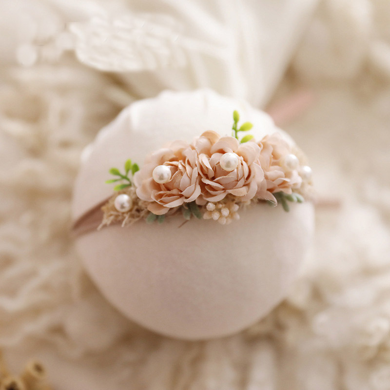 Fashion Floral Headband Newborn Baby Elastic Princess Hairbands Child Kids Pearl Fresh Style Cute Newborn Photography Props Gift