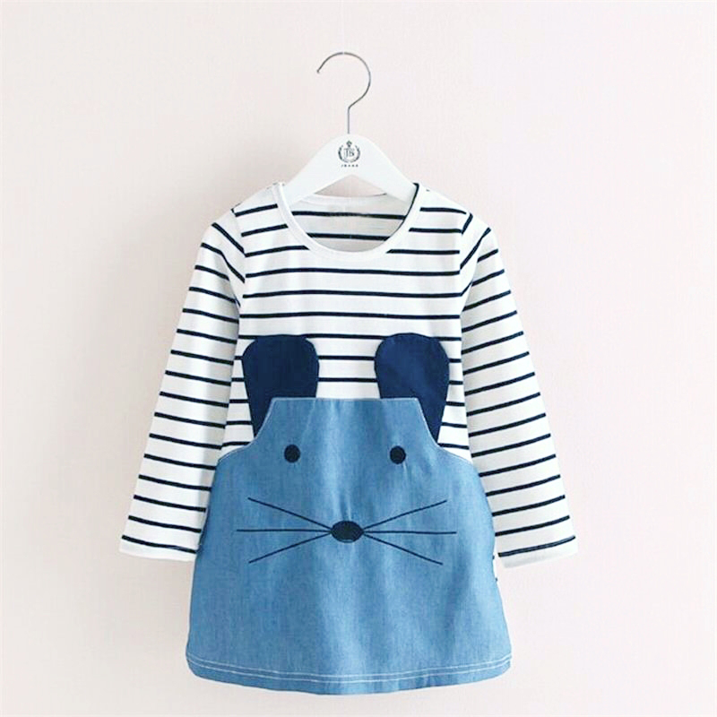 Long Sleeve Baby Girls Dress Kids Casual Dress Brand Fancy Stripe Printed Mouse Denim Clothes Cotton Dresses for Baby Daily Wear