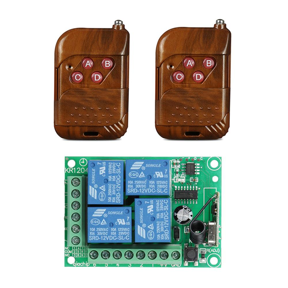 433 MHz RF 4 Channel Remote Control Transmitter Learning Code 1527 And DC 12V Relay Receiver Module DIY Switch Garage Gate Door
