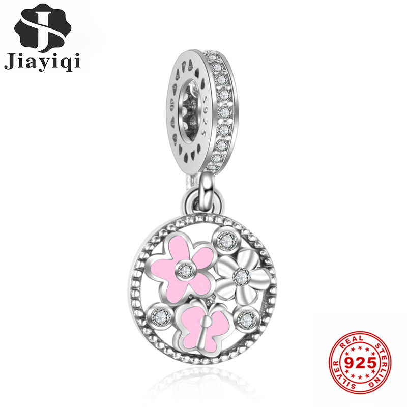 Jiayiqi Pink Flowers Charms 925 Sterling Silver Pendants DIY Bracelets Necklace For Fine Jewelry Making Handmade Women Gift