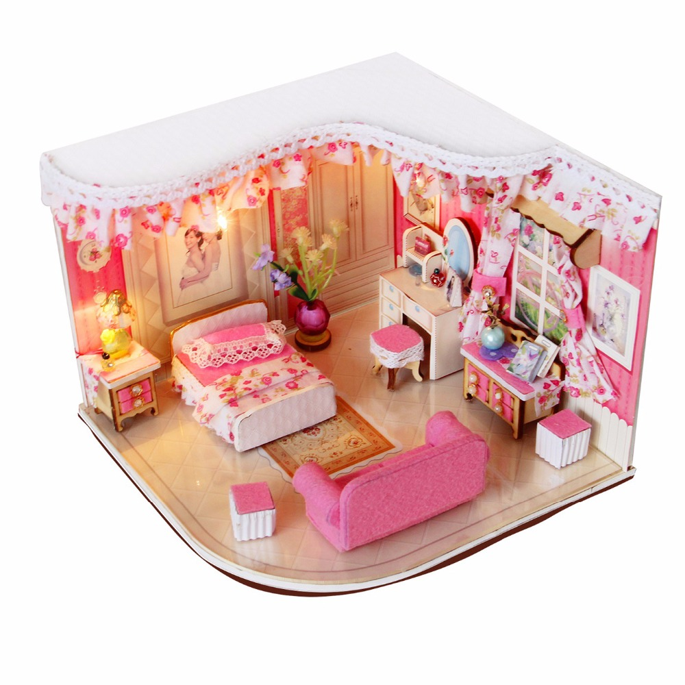 wooden doll house lobby 3d puzzle baby room decoration pink blue red merry for girls diy brand baby wooden doll house