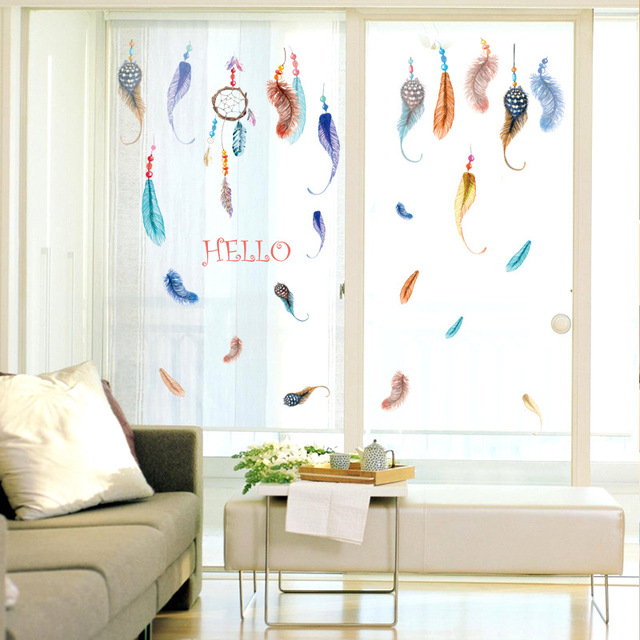 Colorful flying feather hello wall sticker home decor living room bedroom home decoration window wall decals