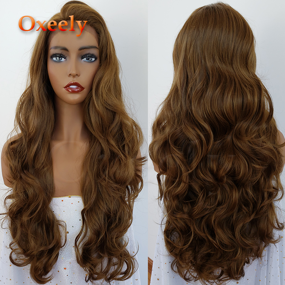Oxeely #10 Color Body Wave Hair Synthetic Lace Front Wigs Brown Hair Color Glueless Long Wigs Natural Baby Hair for Black Women