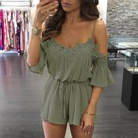 Women Lace Jumpsuit Elegant Short Overalls Rompers Jumpsuit Female Summer Playsuit Romper Clothes LJ8899Y