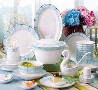 Dinnerware Sets 58pcs Kitchen Dining & bar Tableware Luxury Bone China Bowls Plates Dishes combination