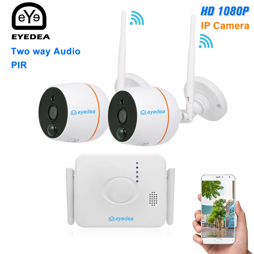 Eyedea 4CH Wifi NVR with 2PCS 1080P Audio Wireless CCTV Security IP Camera PIR Motion Detection Video Surveillance Camera Kit