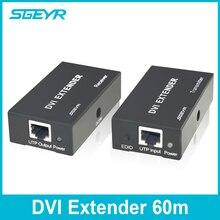 SGEYR 196ft DVI Extender 60m 1080p RJ45 Network Extender Over Single Cat5e/Cat6 Ethernet Cable Extensor DVI,DVI to UTP Converter