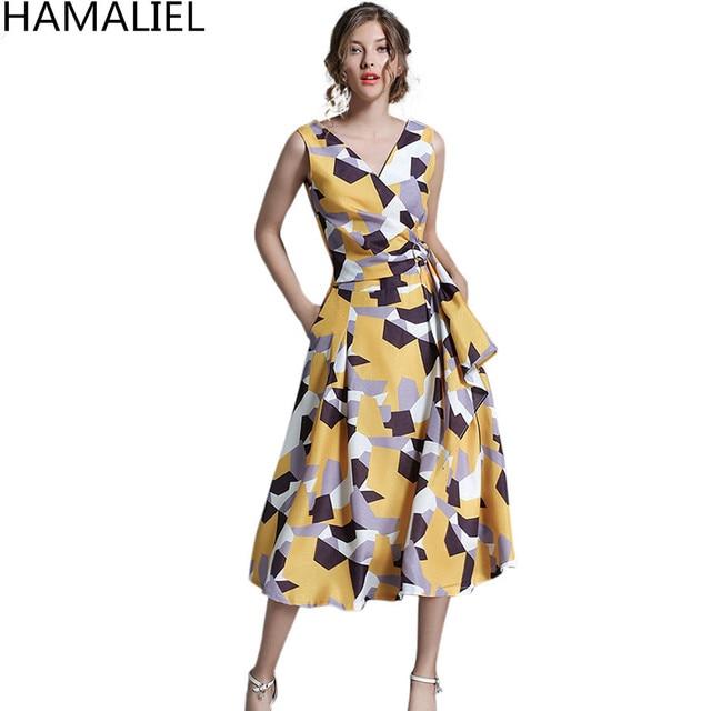 HAMALIEL European Style Women Summer Dress 2018 Runway Print Geometric  Pattern Sleeveless Tie Elegant V Neck Tank Party Dress 7ac42693919c